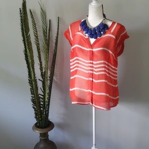 Old Navy sheer red button down with white stripes